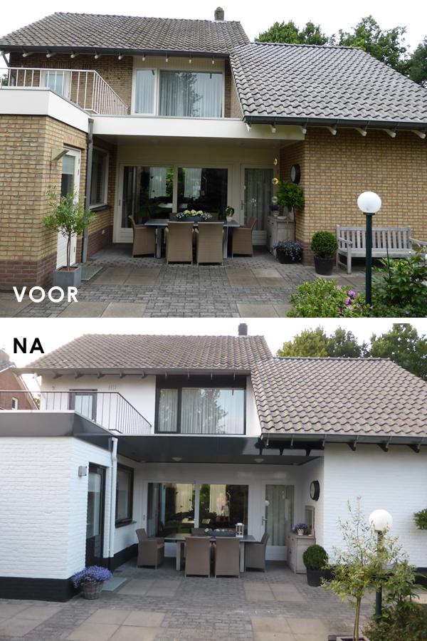 Voor en na schilderwerk van woonhuis